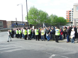 Construction Workers Demo outside London Olympics site