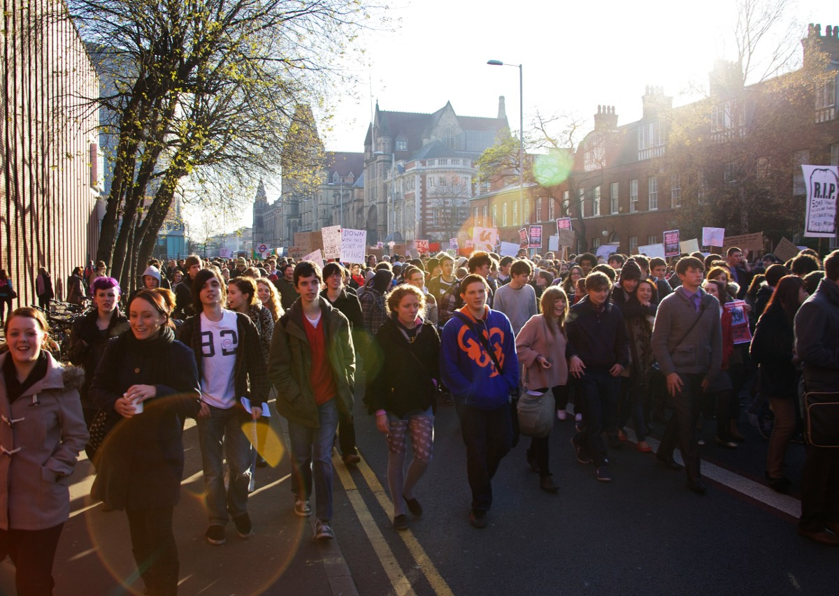 March of students in Manchester. Photo: Pete Birkinshaw
