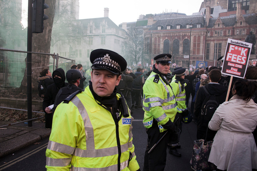 Police at Parliament Square. Photo: Paul Hogan