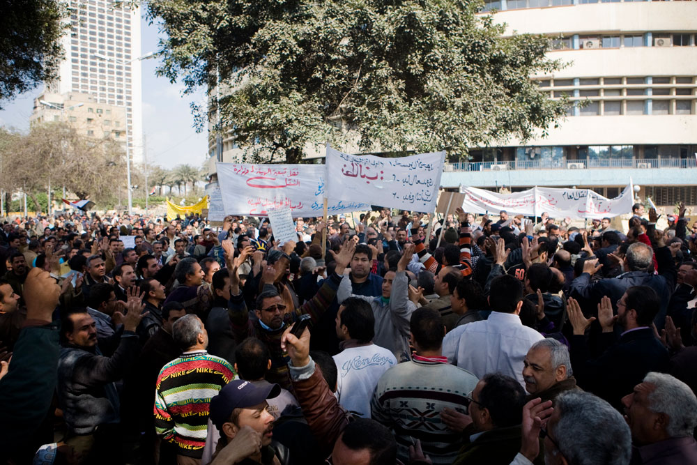 14 February, public transport workers rally. Photo: 3arabawy