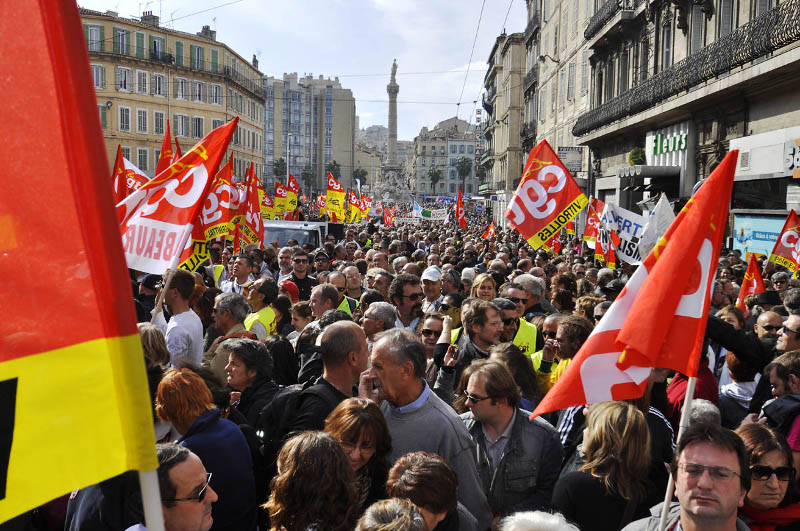 Protest in Marseille on 16 October. Photo: marcovdz