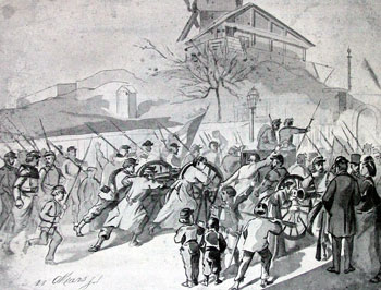A contemporary sketch of women and children helping take two National Guard cannons to Montmartre.
