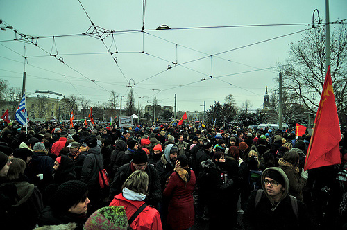 Part of the antifascist demonstration. Photo by realname on flickr.