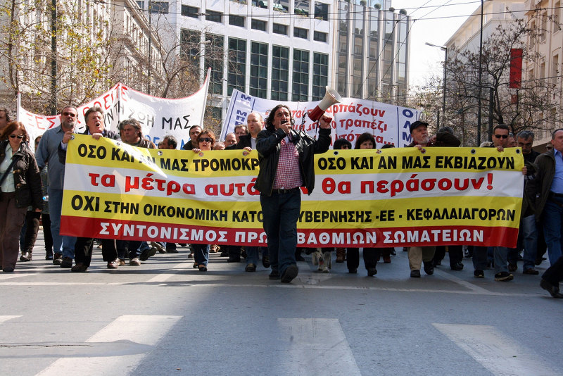 Greek general strike in March. Photo by George Laoutaris