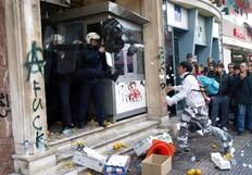 Students attacking a police station