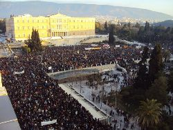 Masses on the streets in Greece