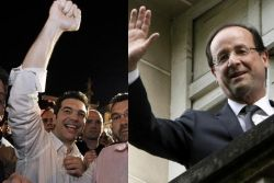Alexis Tsipras (Left) and François Hollande (Right)