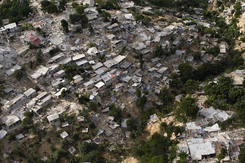 A poor neighbourhood in Port au Prince shows the immense damage after the earthquake