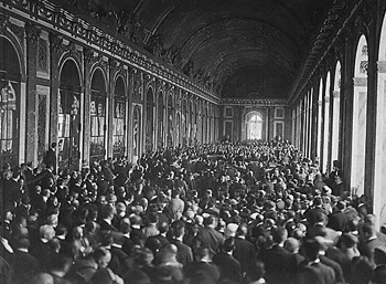 Signing of the treaty in the Hall of Mirrors at the Palace of Versailles.