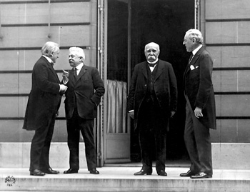 The Big Four (from left to right): David Lloyd George (Britain), Vittorio Emanuele Orlando (Italy), Georges Clemenceau (France) and Woodrow Wilson (USA) in Versailles. Photo by Edward N. Jackson.