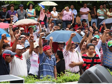Demonstration in Choluteca, which was attacked by armed men