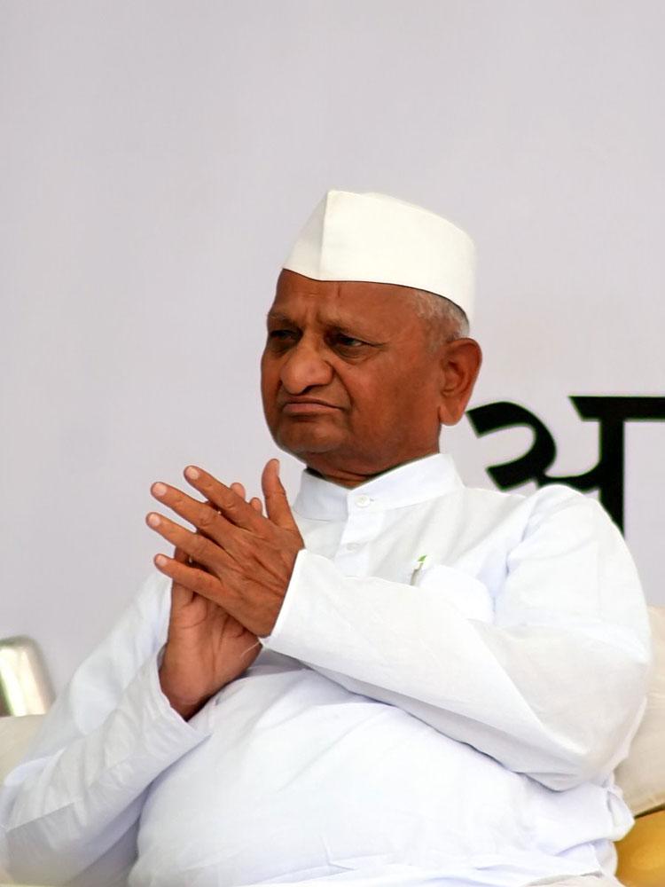 Anna Hazare during one of his hunger strikes. Photo: Ramesh Lalwani