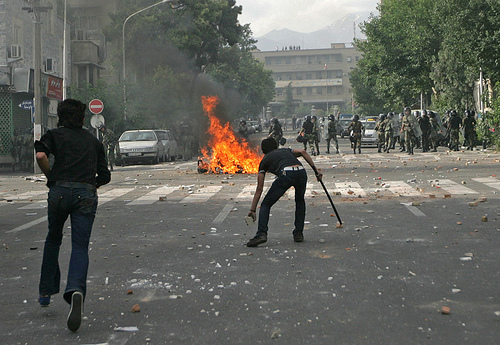 Demonstrators in Tehran fighting back forces of the regime, Saturday June 20. Photo by Current News Stories.