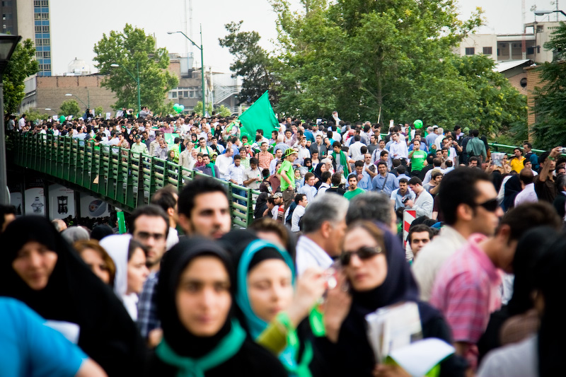 Protesters in Tehran. Photo by Shahram Sharif.