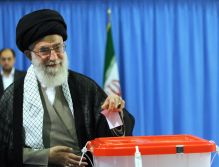 Ali Khamenei voting in 2013 Presidential Election of Iran