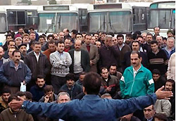 Vahed Bus Company workers during a strike