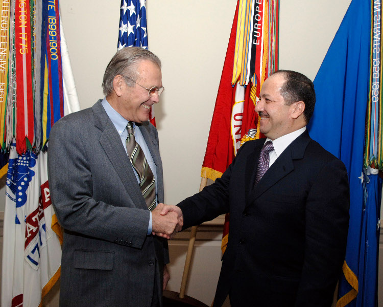 Former US Defence Secretary, Donald Rumsfeldt  and Mesud Barzani. Photo by Dod/ Helene C. Stikkel.
