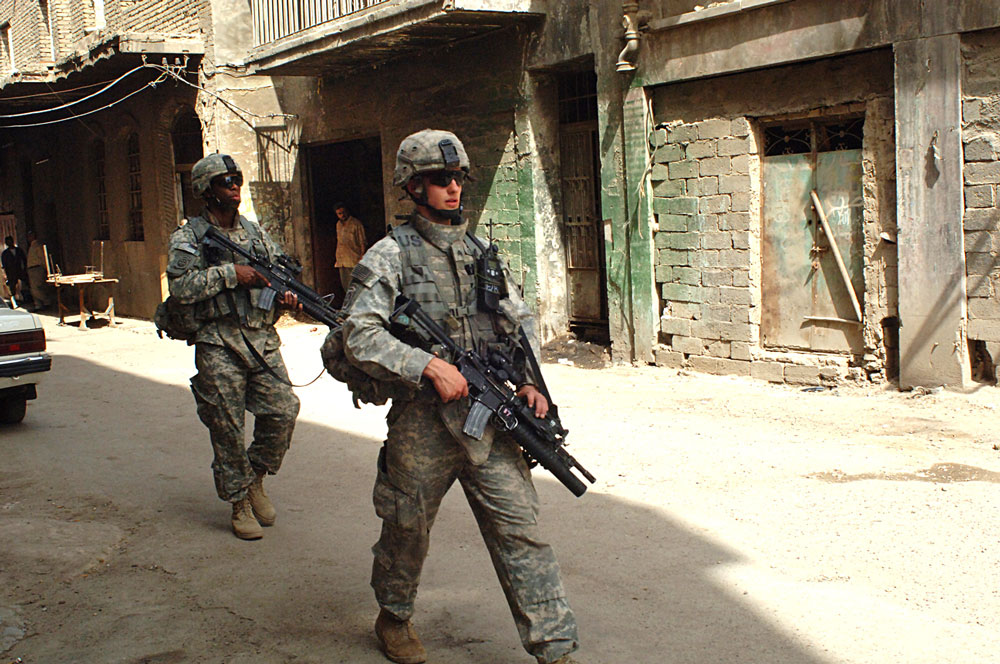 Soldiers on patrol in Bagdad, 2007. Photo: US Army/ Bronco Suzuki