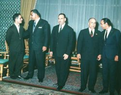 1964 Arab League Summit in Alexandria - From left to right King Hussein Gamal Abdel Nasser Arif Habib Bourguiba and King Hassan ii - Public Domain
