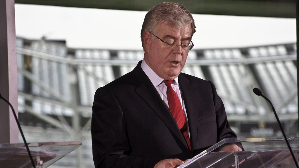 Gillmore launching the Labour Party election manifesto. Photo: William Murphy