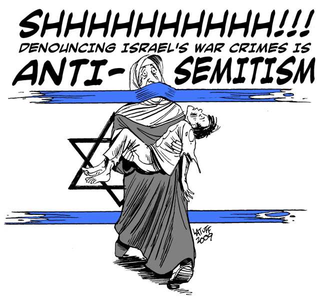 Zionism cynically regards any criticism, as sounded and justified as it may be, against its crimes, as anti-Semitism. Drawing by Latuff.