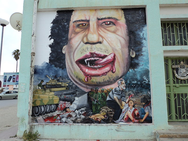 Gadafi caricature in Al Bayda