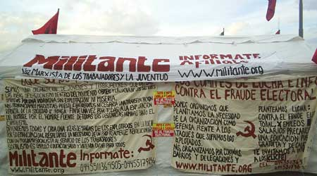 Militante stall at the Zocalo square