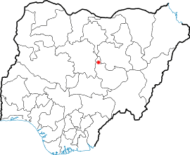 Location of Jos in Nigeria