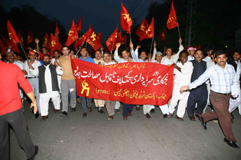 Demonstration and rally in the streets of Lahore against unemployment, poverty and privatisation organised by the PTUDC