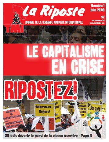 Quebec Marxists launched a new publication, La Riposte