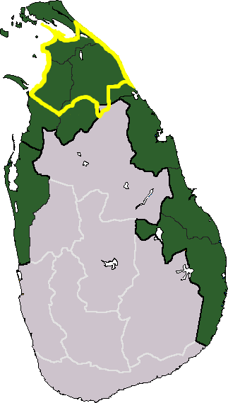 Tamil Eelam (LTTE) territorial claim (green) and approximate de facto territory controlled at the time of the launching of the 2008–2009 Sri Lankan Army Northern offensive (yellow). During the final army offensive, however, all of this area was recaptured by Sri Lankan forces.