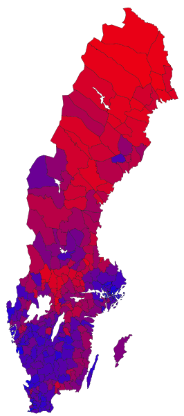 Map of Sweden with regions supporting government in blue and red-green opposition in red. Illustration: Hydrox.
