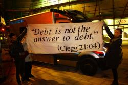 Students from the UCL occupation picking up on Clegg's pre-election words. Photo: ucloccupation