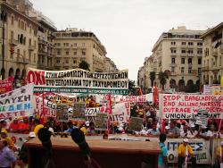 Protest outside international fair in Thessaloniki where the Greek Prime Minister Papandreou was speaking. Photo: apαs