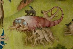 "Detail of humans carrying fish from Bosch's ""The Garden of Earthly Delights"""