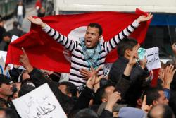Protest against goverment 19 January in Tunis. Phtoto: Nasser Nouri.