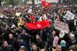 Protesters outside the Prime Minister's Office on 20 January. Photo: Nasser Nouri.