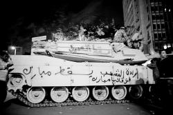 "January 31 - Graffiti on tank: ""The will of the Egyptian people is above you Mubarak"" - Photo: 3arabawy"