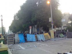 February 3 - Fences to guard entrance to Tarhir Square - Photo: RamyRaoof