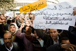 14 February, public transport workers on strike protesting outside Ministry of Interior. Photo: 3arabawy