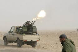 March 4, anti-aircraft gun in rebel hands. Photo: Nasser Nouri