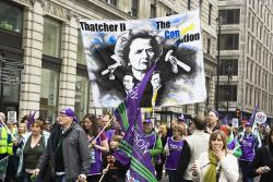 Unison members making link between Thatcher and government