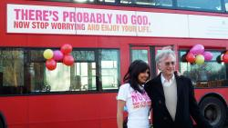 Ariane Sherine and Richard Dawkins at the Atheist Bus Campaign launch, London, January 2009. Photo: Zoe Margolis