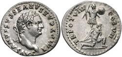 Roman denarius depicting Titus, c. 79. The reverse commemorates his triumph in the Judaean wars, representing a Jewish captive kneeling in front of a trophy of arms. Photo: Classical Numismatic Group