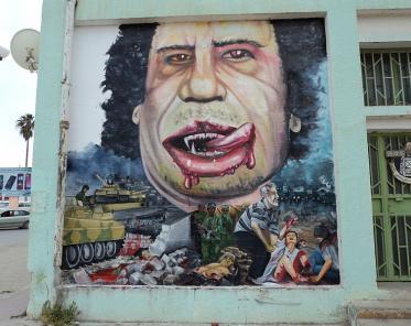 Gadafi caricature in Al Bayda