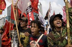 Protest against fuel price hikes in Jakarta in 2008. Photo: Henri Ismail