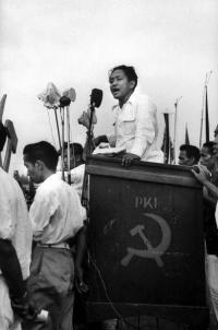 Dipa Nusantara Aidit, leader of the Communist Party of Indonesia, speaking at PKI election meeting 1955
