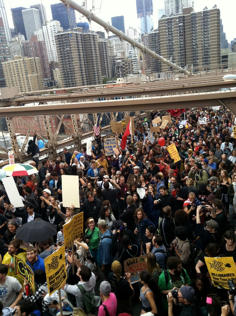 Demonstration on the Brooklyn Bridge