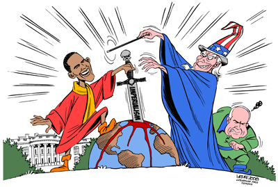 Barack Obama, drawing by Latuff