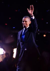 Obama after his victory. Photo: WHCI News/ Kevin Gebhardt